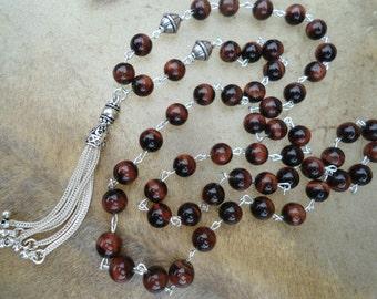 Tassel Mala Necklace Sterling Silver Rosary Wrapped Red Tigers Eye Mala Beads  Mala Necklace Silver Tassel Gemstone Mala  Heirloom  Tasbih