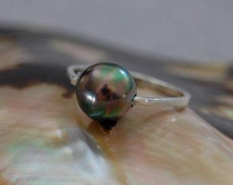 Harper -  Diamond Alternative - Tahitian pearl ring, promise ring, engagement ring, wedding ring, stacking ring, gift, jewelry, pearl, ring