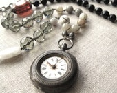 A Thought In Time - Vintage Sterling Pocket Watch Pendant Necklace - Long Boho Bohemian Strand Necklace - Antique - Assemblage Necklace