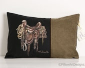 Equestrian Decor Western Saddle Lumbar Pillow Moss Green Black 12 X 18 Hand Painted Made in Canada Ready to Ship