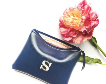 Personalized Bridesmaid Gift Idea for Her Navy Monogram Clutch Set Purse Custom Women Pouch Gold Black Faux Leather Makeup Cosmetic Bag