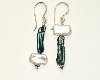 Asymmetrical Earrings - Genuine Pearl earrings - Blue Green and White Pearls - Mismatched earrings - Abstract Jewelry