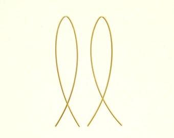 Gold threader earrings -  Christian - Wire Earrings - Minimalist - Jesus fish - Ichthys