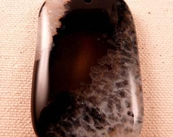 Gemstone Pendant Geode Druzy Agate Geode Pendant Black and White Gemstone Bead