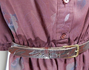 1970's BROWN LEATHER BELT size 32 Cowhide made in Paris