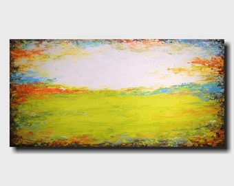 Large Original painting - 24 X 48 - Art by JMJartstudio- Upon Us -Wall art-wall decor - Citron Green painting-Oil painting