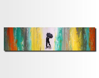 Original Large Silhouette painting - 16 X 60 Inches-by Artist JMJartstudio-Follow Me-Wall art-wall decor --Oil painting