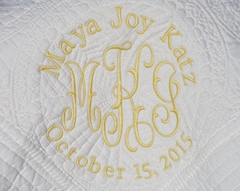 Monogrammed White Baby Quilt -  - Monogrammed / Embroidered Baby Blanket