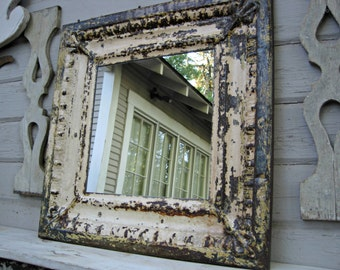 Vintage Tin Mirror.  Rustic wall mirror 2x2.  Architectural salvage.  Large mirror. Old chippy vintage paint. Pressed tin. Wall mirror.