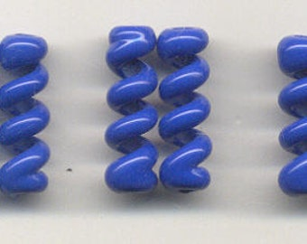 Tom's lampwork opaque light lapis blue twist cylinder beads, drops, spacers 20mm, 2 beads, 1 pair, 97454