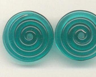 17mm range, Tom's lampwork transparent dark teal (great bluedini) 2 disc spacer/drop set, 1 pair 96521-1