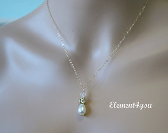 Fall wedding necklace, Bridesmaid necklace, 14k gold filled chain, Pendant necklace, Bridal jewelry, Bridal party gift, Ivory pear drop