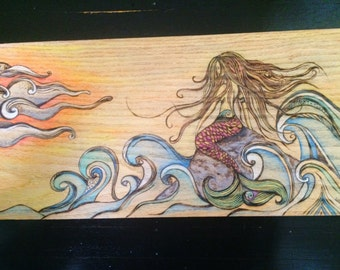 Siren of the Sea - Wood burn and watercolor