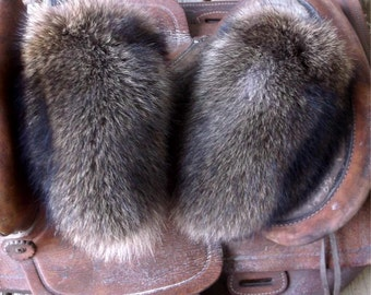 Raccoon fur mittens with red fleece liner handmade X small