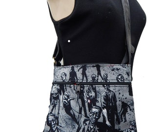 "USA Handmade Cross Over Body With ""ZOMBIE CHARCOAL"" Pattern Shoulder Bag Purse, Cotton, new"