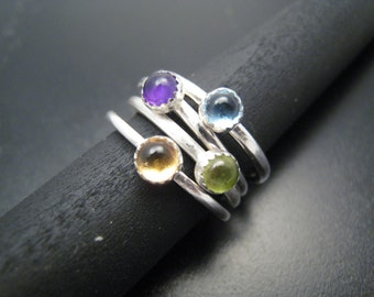 Silver Stackable Rings with Genuine Gemstones