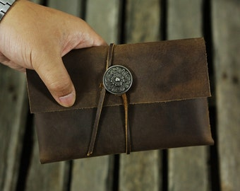 Men leather clutch bag wallet pouch /  Men leather purse pocket /  men leather shaving Kit groomsman gift M05SCB