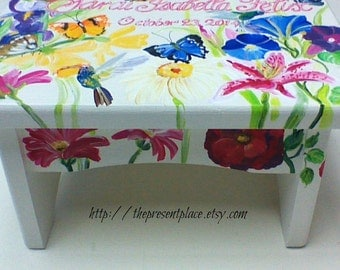 Hand painted personalized step stool,butterflies,flowers,hummingbirds,girls step stool,children's bench,baby,kids furniture,kid's step stool