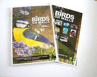 Birds on Walls  Pack of 10 Postcard Prints / Nature Mini Prints