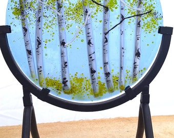 Aspen Grove Round Fused Glass Panel (Spring)