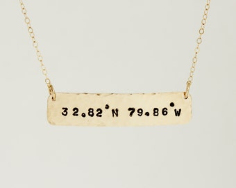Custom Coordinate Necklace | Personalized Gifts under 100 | Custom Hammered | Coordinate Bar Necklace | Gold Bar Necklace | Custom Location