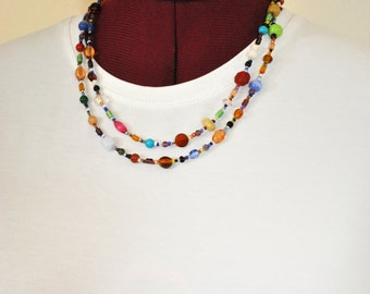 """Beaded NECKLACE - Long 20"""" (40"""") Multiple Primary Colors Peach Red Aqua Teal Amber Seed Bead Glass Bead - Goes with Everything Necklace 61"""