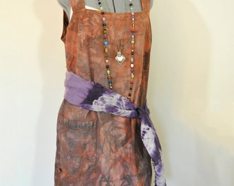 "Brown Large Denim DRESS  - Autumn Brown Dyed Denim NY Jeans Jumper Sun Shift Overall Dress - Adult Womens Size Large (42"" chest)"