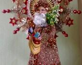 Vintage Look Christmas Topper-PZB Vintage Scrap Santa,German Dresdens,Spun Glass,Vtg Tinsel Star & Reflector, German Tinsel