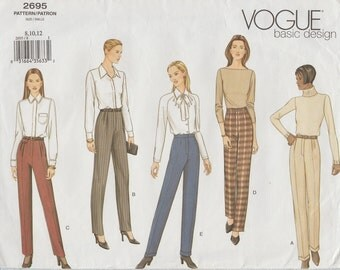 Vogue 2695 / Out Of Print Sewing Pattern / Pants Trousers / Sizes 8 10 12