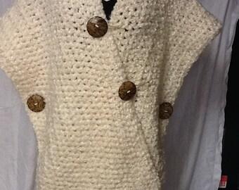 Creamy Oatmeal Crocheted Coat