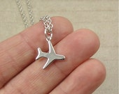 Miniature Airplane Necklace, Silver Airplane Charm on a Silver Cable Chain
