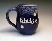 FABULOUS Pottery Coffee Mug cobalt blue and white