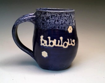 FABULOUS Pottery Coffee Mug cobalt blue and white