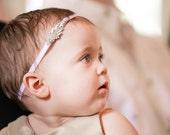 Baby girl christening headpiece, flower girl headband, baby headband, communion, baptism headband, flower girl headpiece