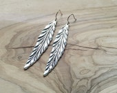 Long Antiqued Silver or Bronze Feather Earrings