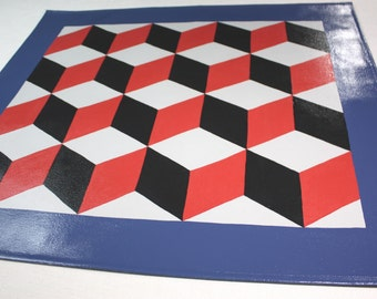 Cube Floor Cloth Red and Grey