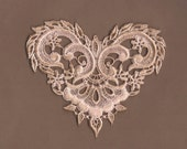 Hand Dyed Venise Lace Applique  Fancy Victorian Heart  Aged Blush