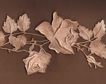 Hand Dyed Venise Lace Rose Applique  Aged Blush Latte