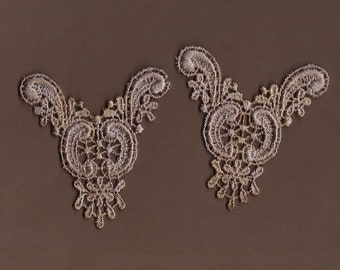 Hand Dyed Venise Lace  Appliques Edwardian Accents Set of 2 Vintage Aged Violet