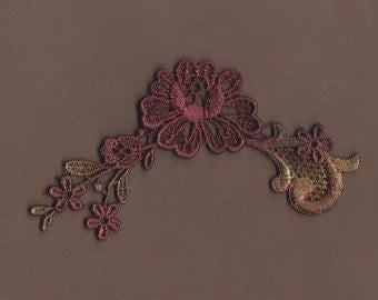 Hand Dyed Floral Venise Lace Applique   Deep Rose's and Rust
