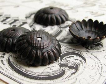 12mm Sunflower bead cap, black antiqued brass (4 bead caps) black bead cap, garden beadcap, made in the USA, lead nickel free BC-G-041
