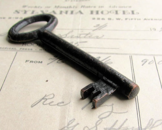 Large antique skeleton key, refinished - 3 inches long - dark, distressed, aged black patina, authentic vintage key, rustic old key