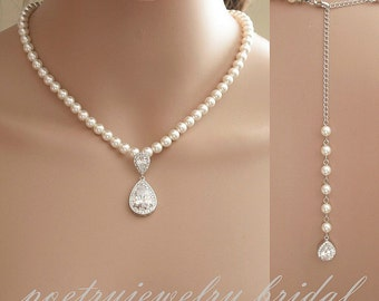 Bridal Backdrop Necklace Wedding Jewelry Pearl Back Necklace Bridal Jewelry Pearl Backdrop Necklace Crystal Pearl Necklace, Leela