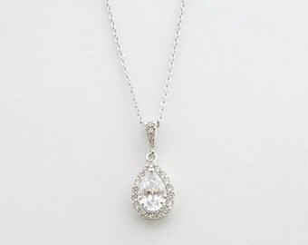 Teardrop Crystal Necklace Wedding Jewelry Bridal Pendant Necklace Clear Cubic Zirconia Teardrop Wedding Necklace Bridal Jewelry, Ellie
