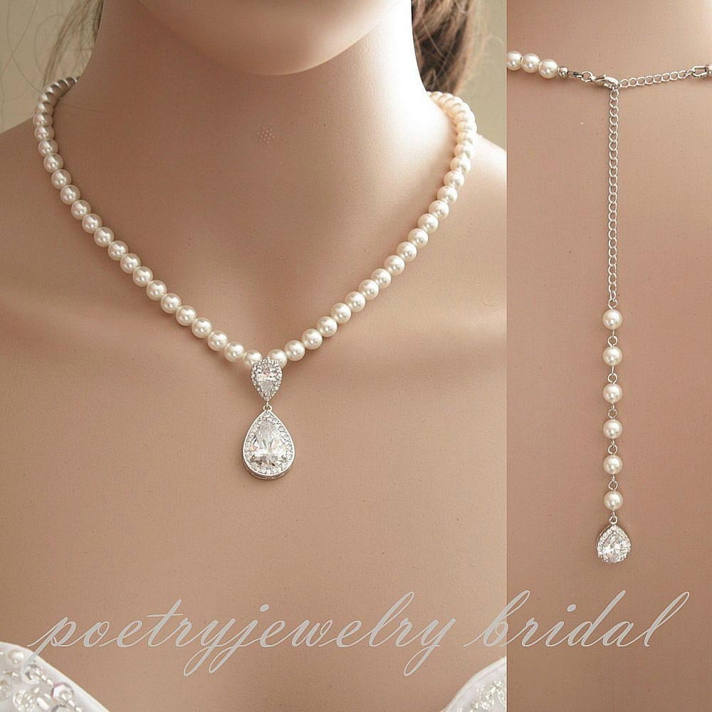 Bridal backdrop necklace wedding jewelry pearl back for Wedding ring necklace