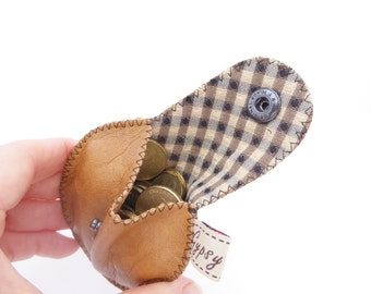 Men's Coin Pouch Leather and Upholstery Fabric / The Mini Gypsy Guys Coin Pouch / Leather Coin Purse