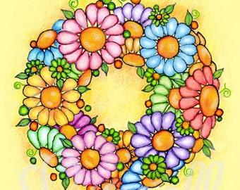 Spring Daisy Wreath Floral Art Print 8 x 10 inch.- Wall Art