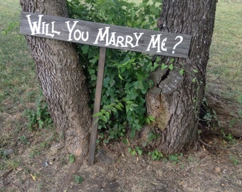 Western Country Rustic Wood Wedding Proposal Sign on Stake Will You Marry Me Photo Prop