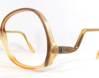 vintage 70's used round eyeglasses drop arm frames plastic oversize retro eye glasses eyewear optical translucent brown yellow neutral 101