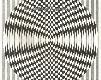 vintage 1970's optic illusion pattern art print book plate black & white pop art design retro home decor mod geometric picture wall 1 2